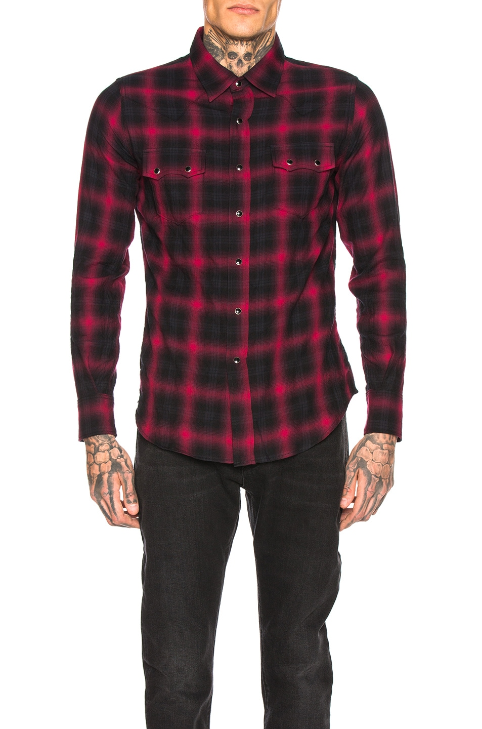 Image 1 of Saint Laurent Classic Texas Shirt in Black & Red
