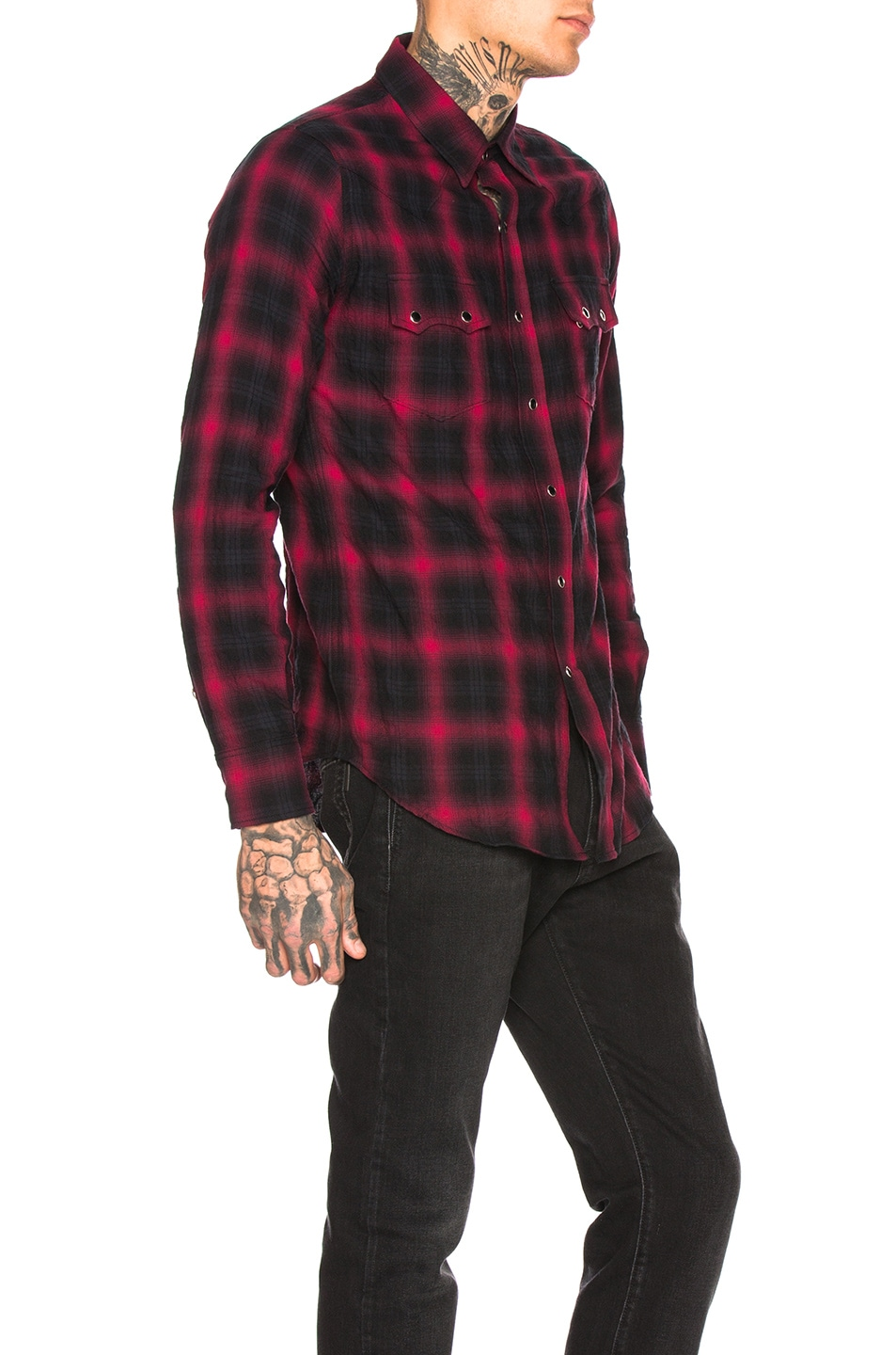 Image 2 of Saint Laurent Classic Texas Shirt in Black & Red
