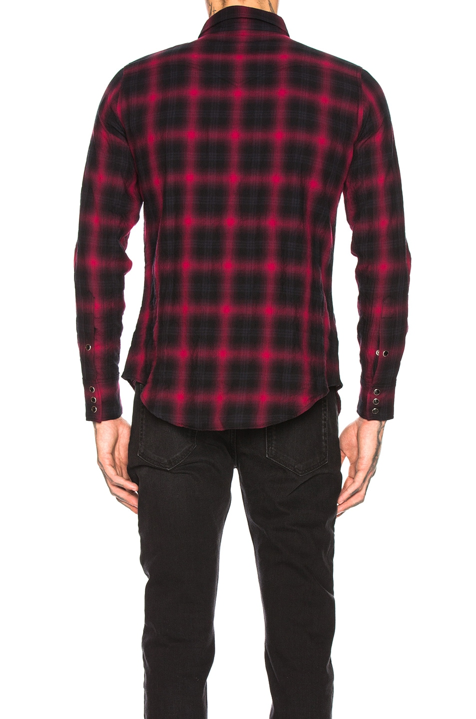 Image 3 of Saint Laurent Classic Texas Shirt in Black & Red