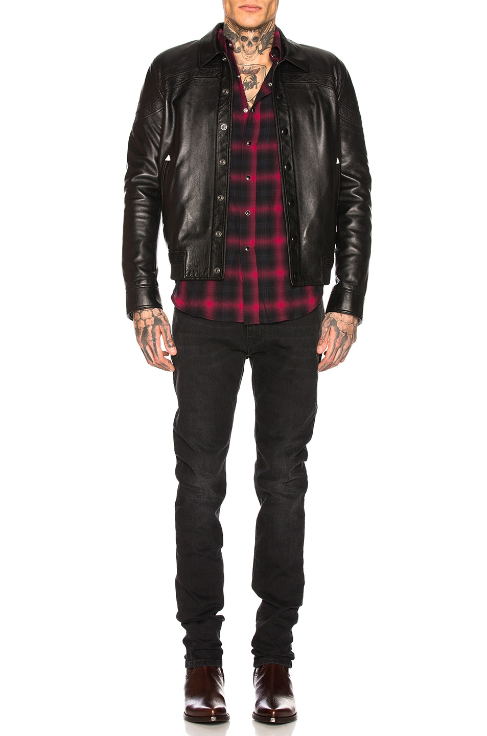 Image 4 of Saint Laurent Classic Texas Shirt in Black & Red