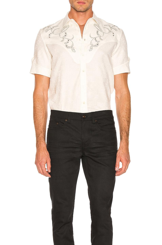 Saint Laurent Western Shirt Chalk 50%OFF
