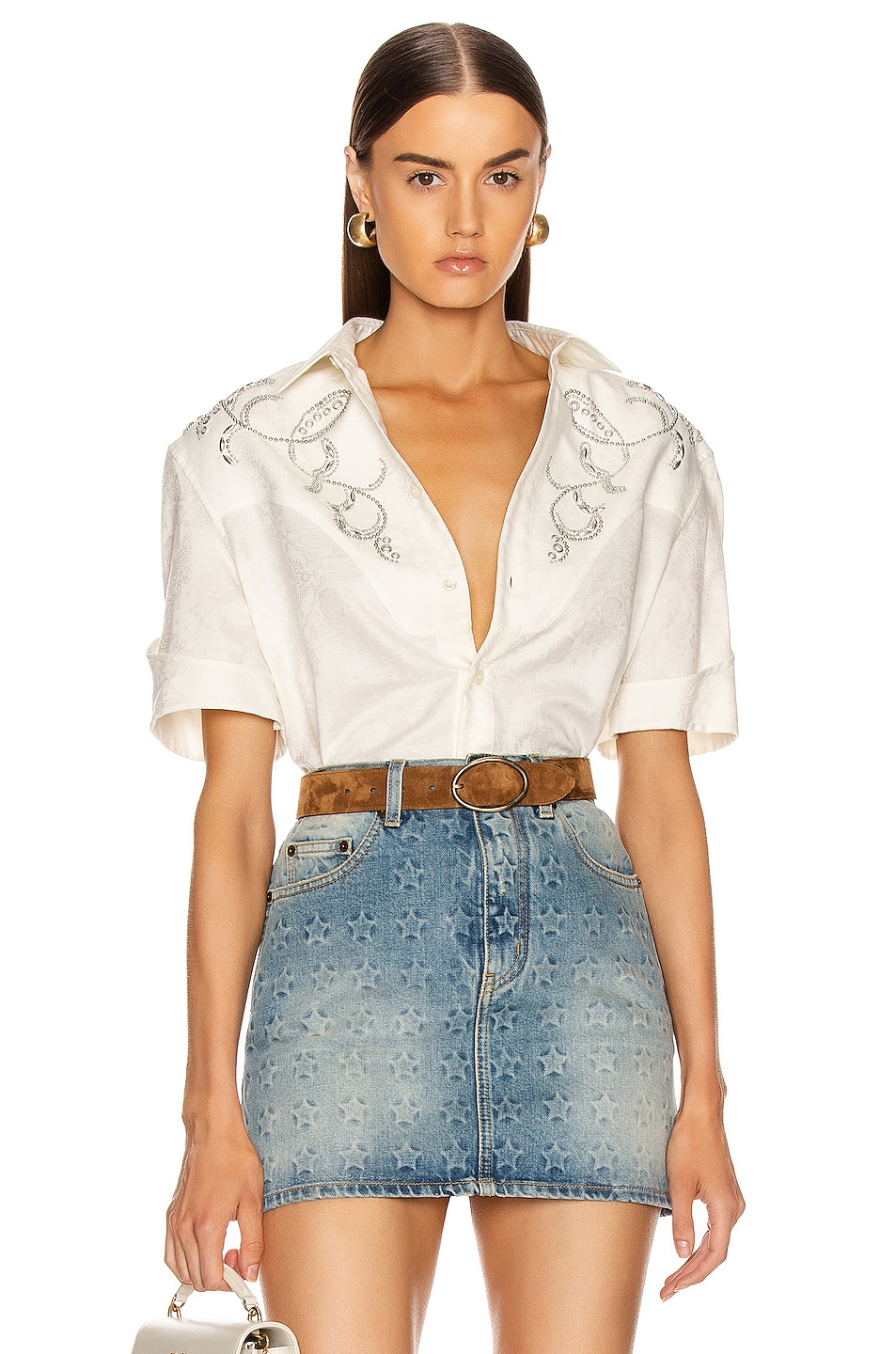 Image 1 of Saint Laurent Western Shirt in Chalk