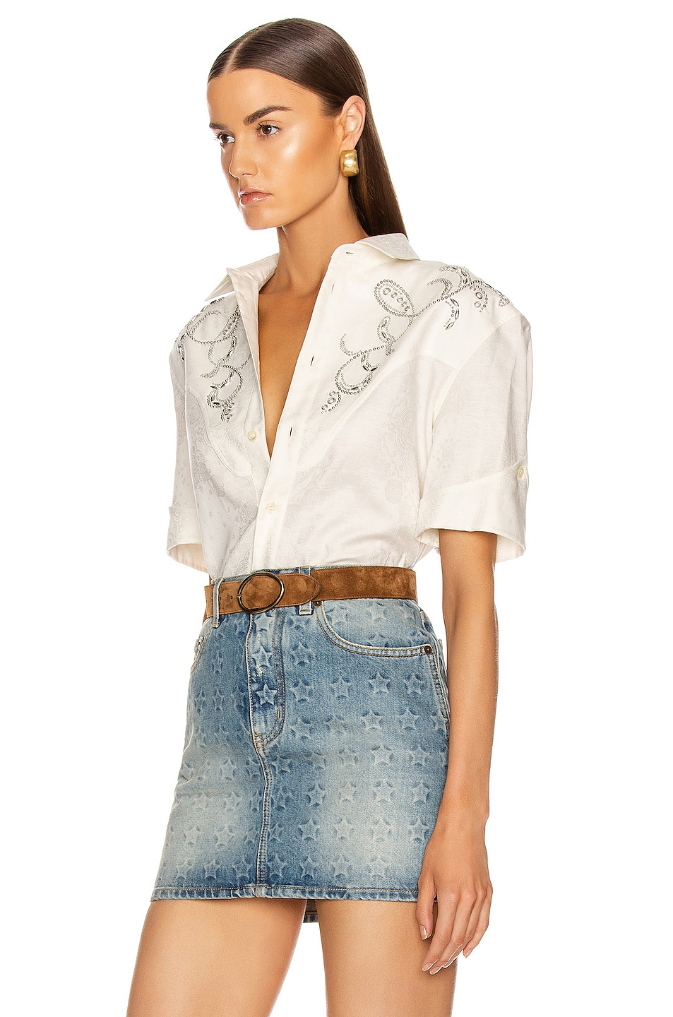 Image 3 of Saint Laurent Western Shirt in Chalk