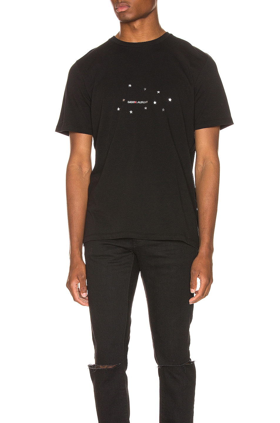 Image 1 of Saint Laurent Star Logo Tee in Black & Silver