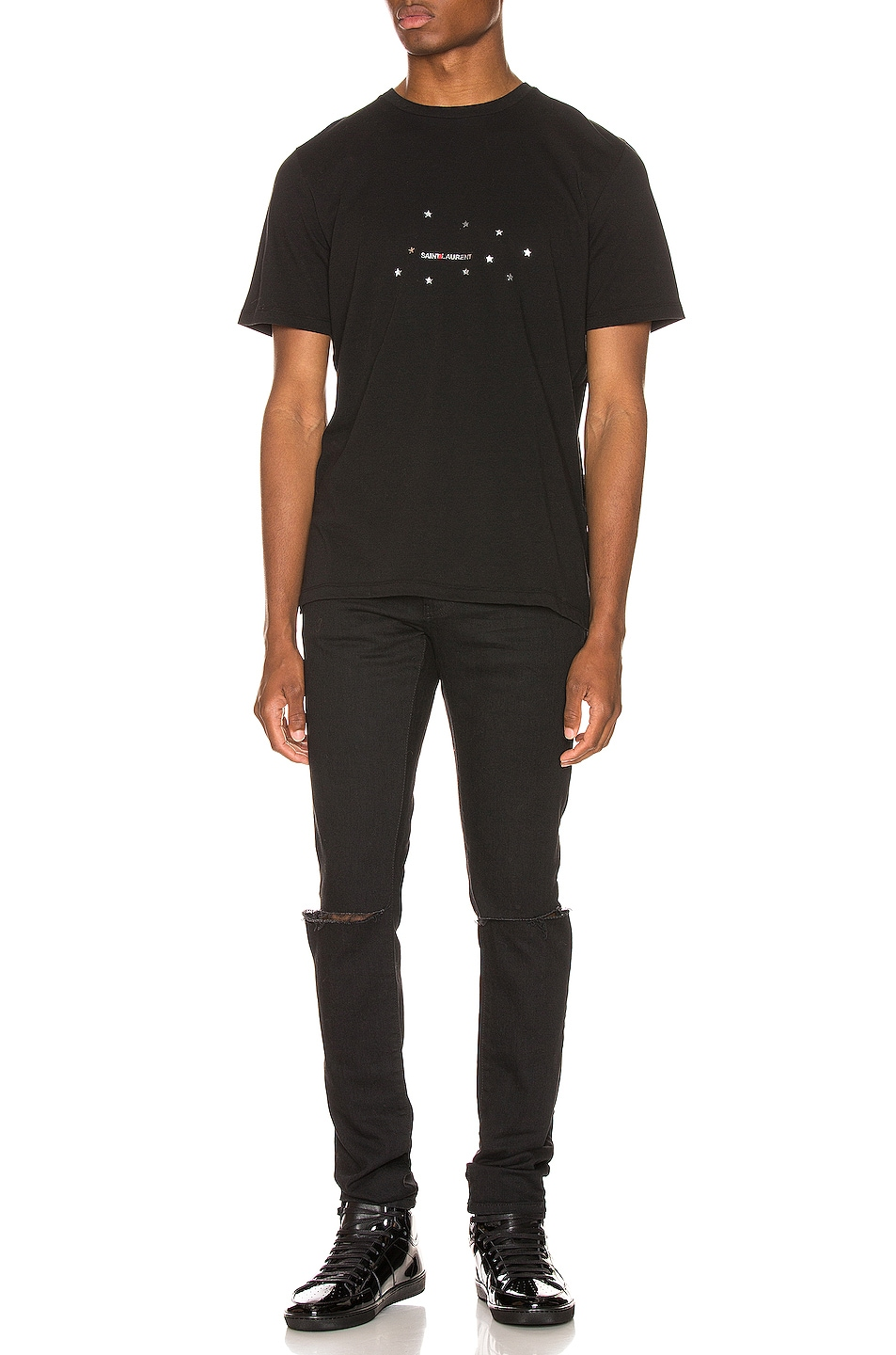 Image 4 of Saint Laurent Star Logo Tee in Black & Silver