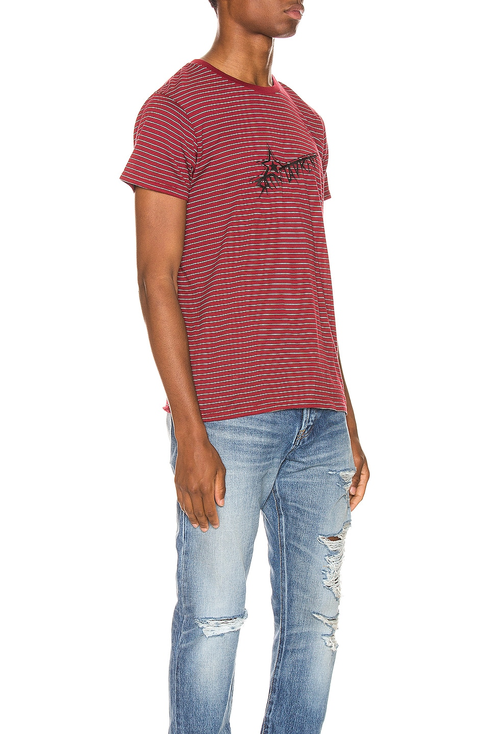Image 2 of Saint Laurent Stripe Logo Tee in Bordeaux & Black