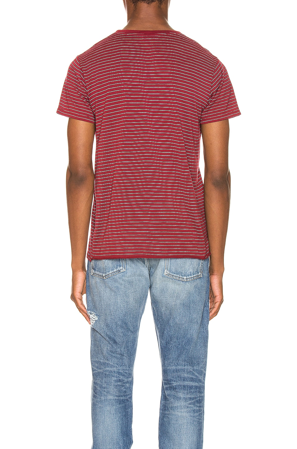Image 3 of Saint Laurent Stripe Logo Tee in Bordeaux & Black