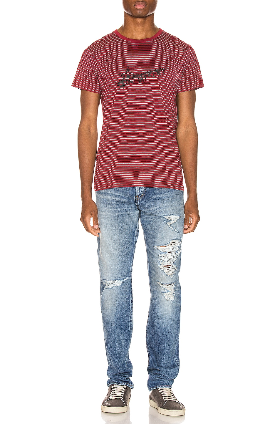 Image 4 of Saint Laurent Stripe Logo Tee in Bordeaux & Black