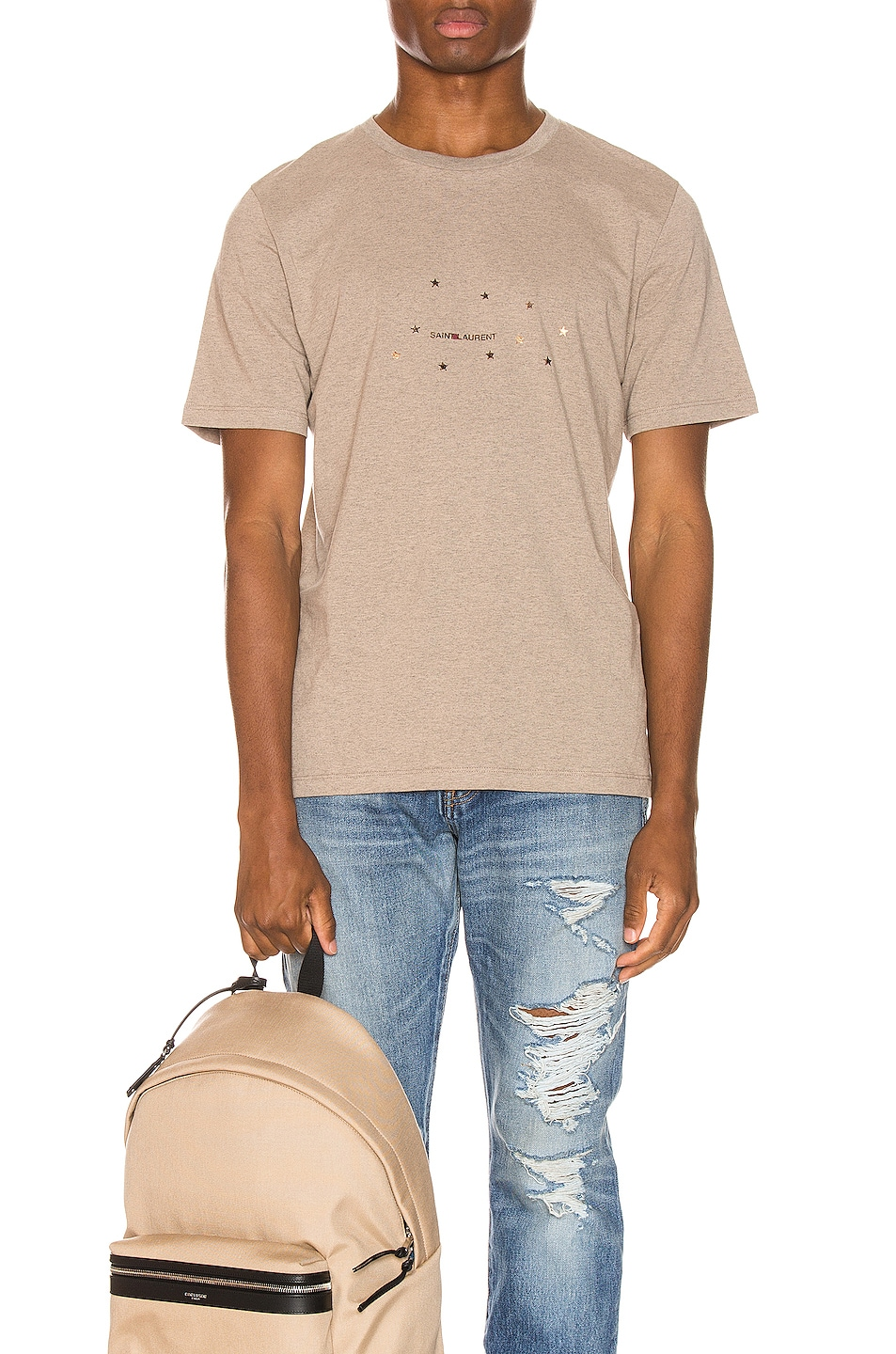Image 1 of Saint Laurent Star Logo Tee in Taupe & Gold