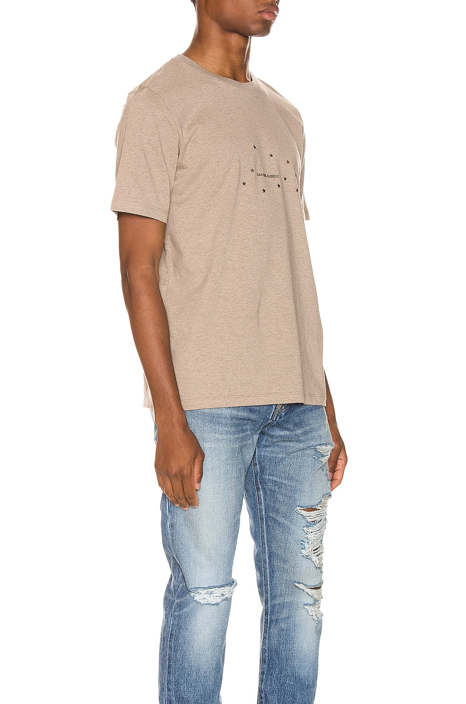 Image 2 of Saint Laurent Star Logo Tee in Taupe & Gold