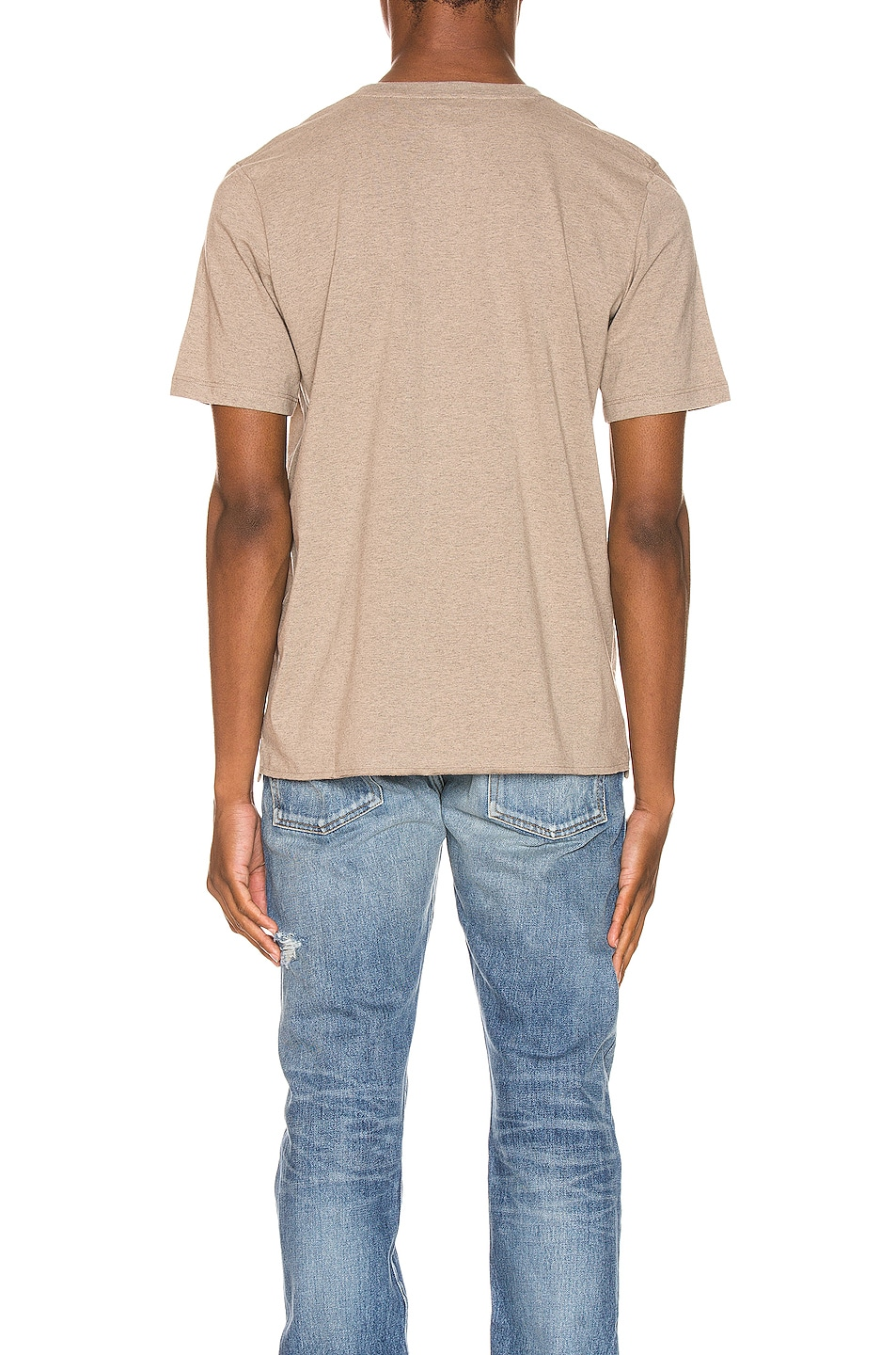 Image 3 of Saint Laurent Star Logo Tee in Taupe & Gold