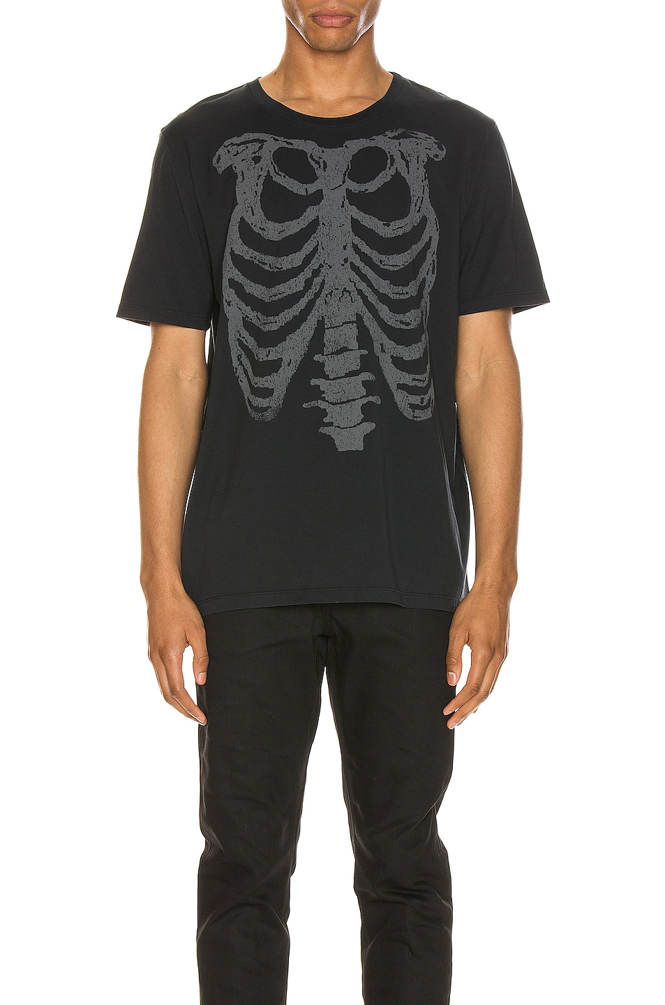 Image 1 of Saint Laurent Ribcage Print Tee in Washed Black & Natural