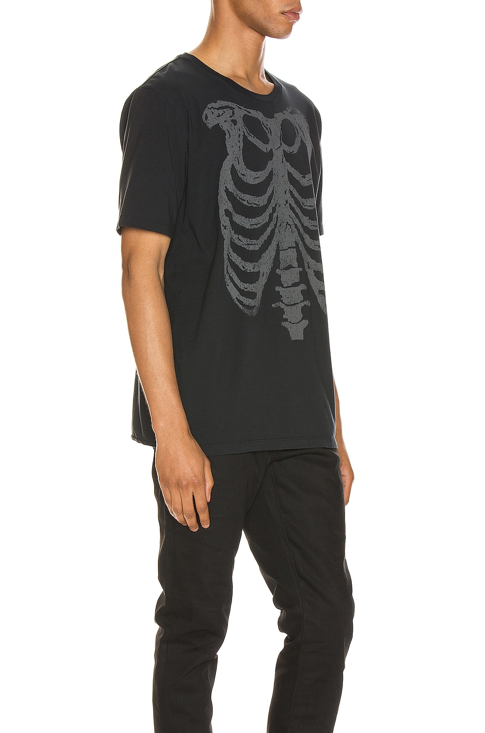 Image 2 of Saint Laurent Ribcage Print Tee in Washed Black & Natural