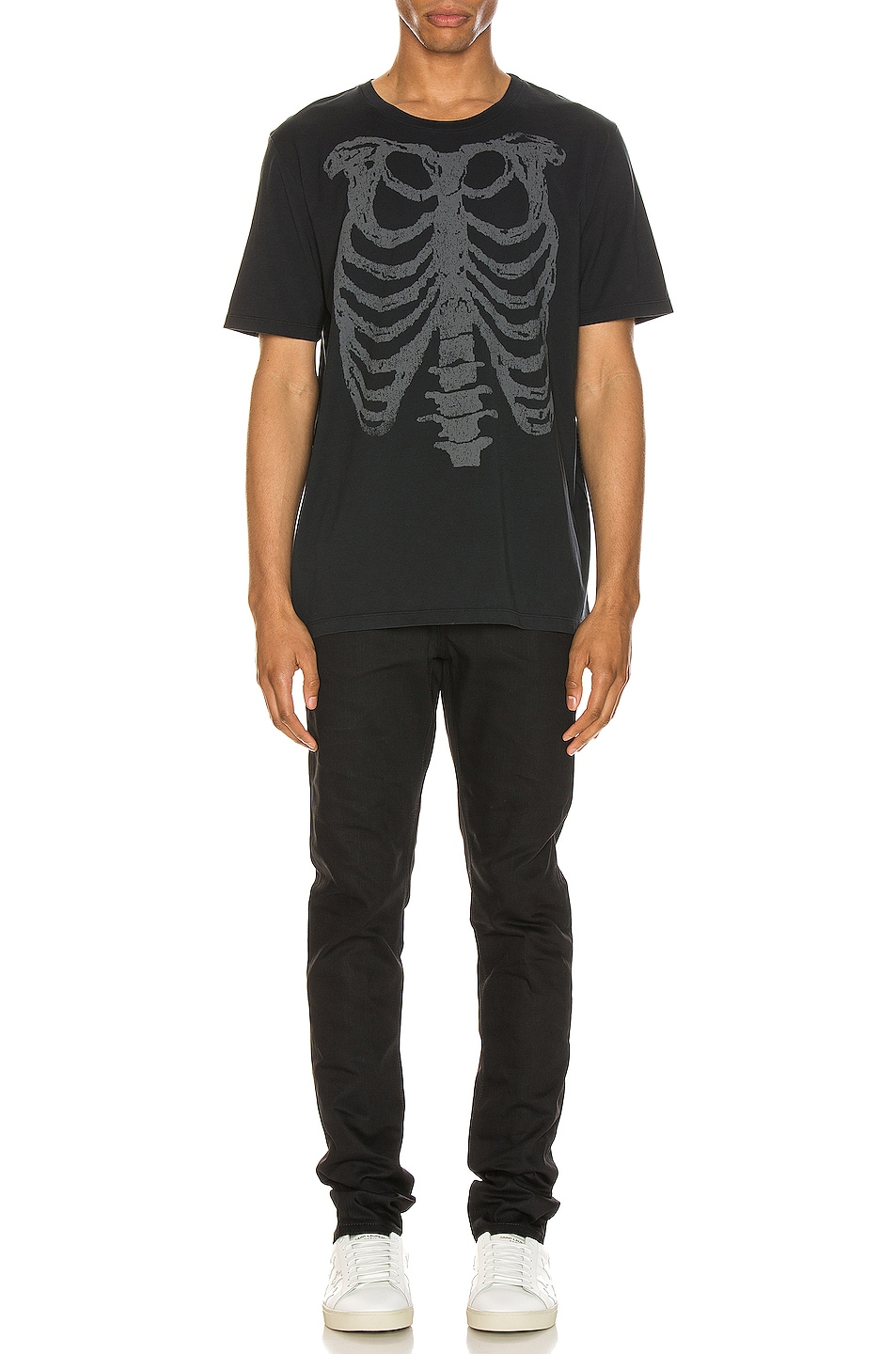 Image 4 of Saint Laurent Ribcage Print Tee in Washed Black & Natural