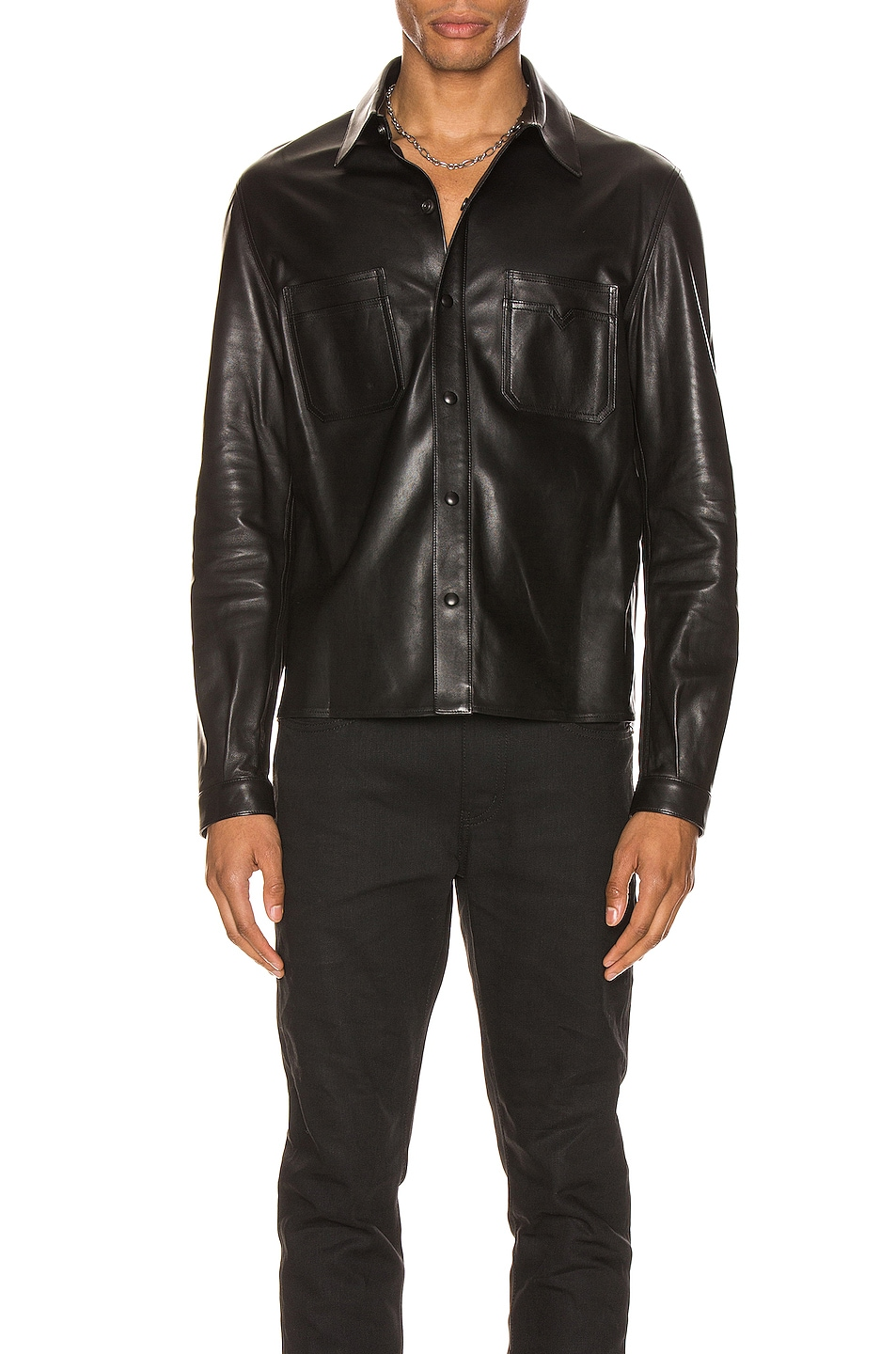 Image 1 of Saint Laurent Leather Shirt in Black