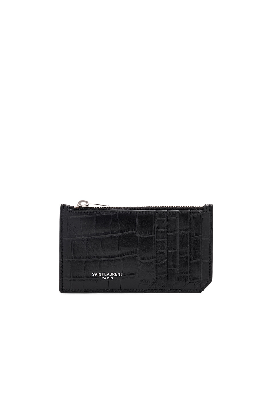 Image 1 of Saint Laurent Matte Croc Zipped Fragments Credit Card Case in Black
