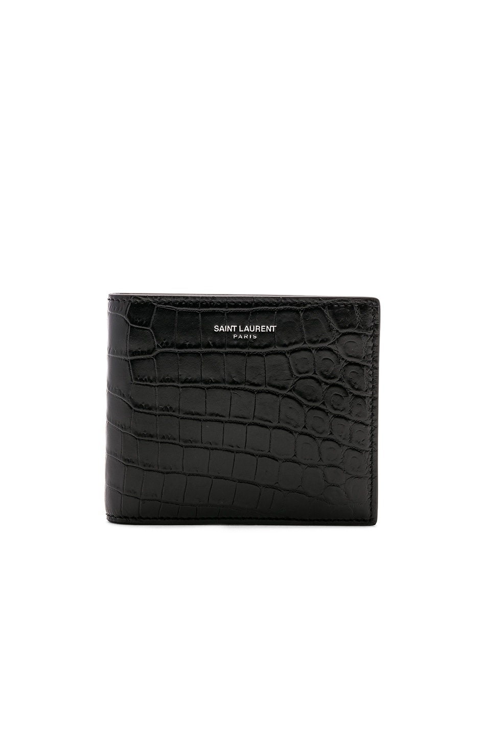 Image 1 of Saint Laurent Matte Croc Billfold Wallet in Black