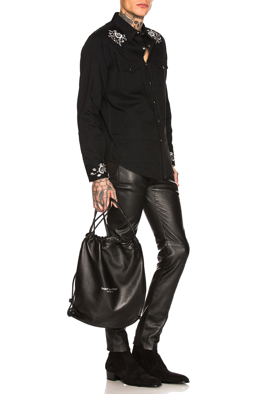 Image 2 of Saint Laurent Drawstring Backpack in Black