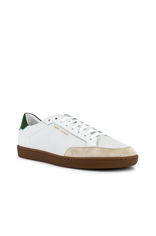 Image 1 of Saint Laurent SL/10 Low Top Sneaker in Optic White & Green