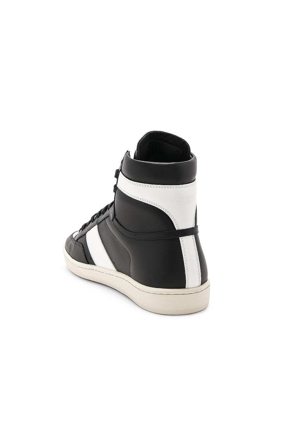 Image 3 of Saint Laurent Signature Court Classic SL/10H Leather High Top Sneakers in Black & White