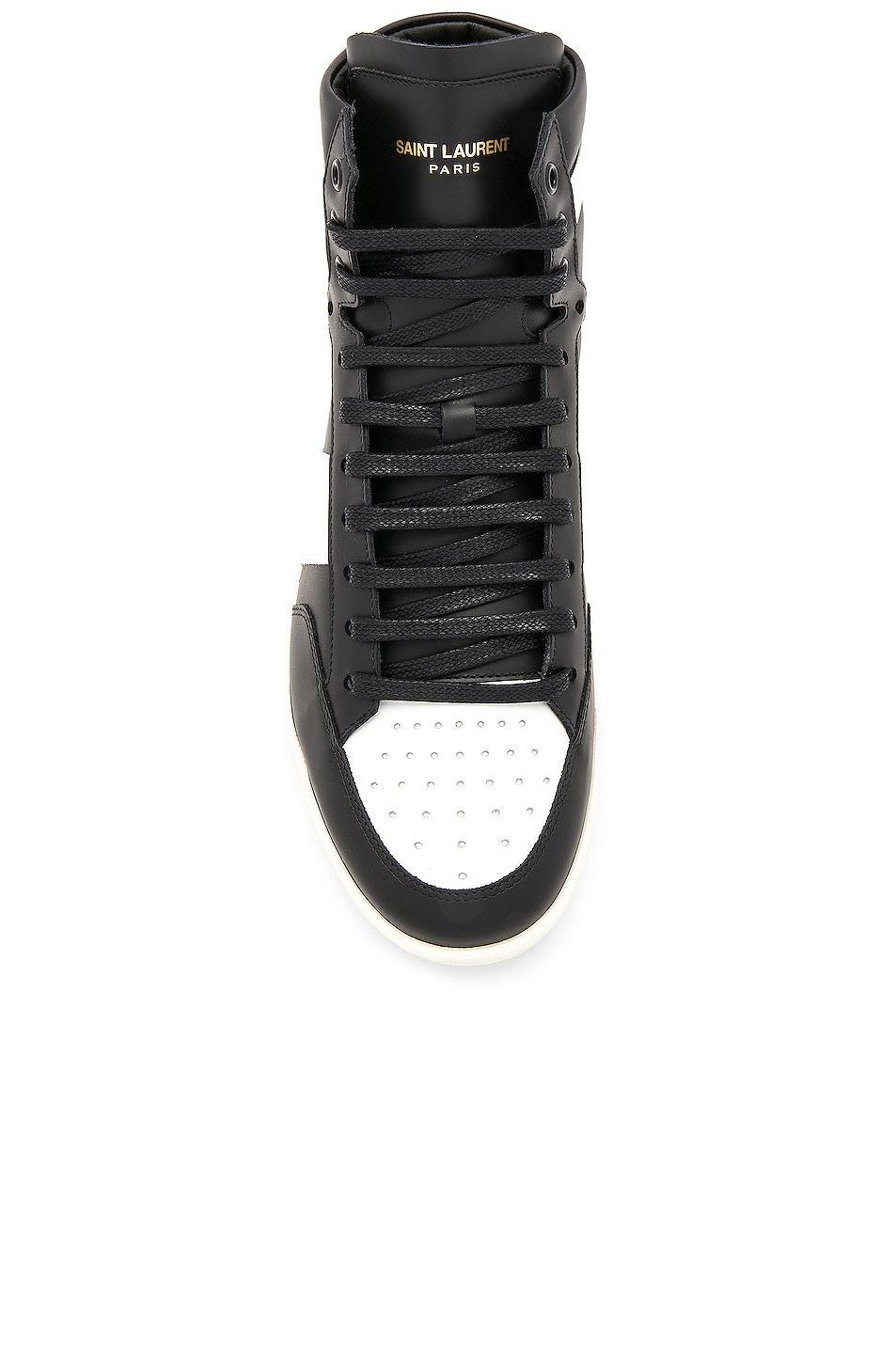 Image 4 of Saint Laurent Signature Court Classic SL/10H Leather High Top Sneakers in Black & White