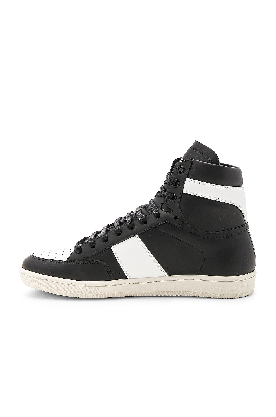 Image 5 of Saint Laurent Signature Court Classic SL/10H Leather High Top Sneakers in Black & White