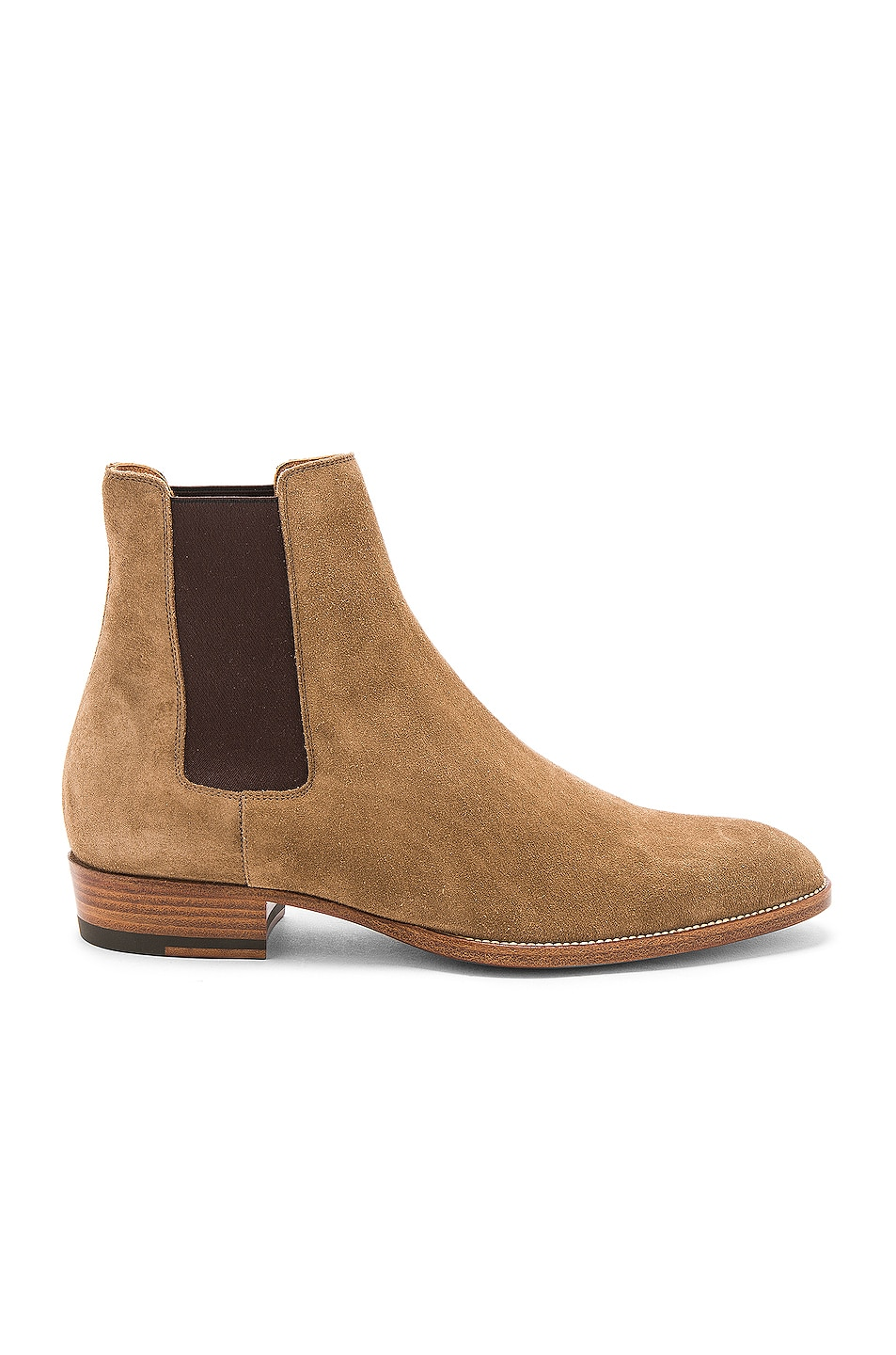 f423bb5c1f2 Saint Laurent Suede Wyatt Chelsea Boots in Light Cigar | FWRD