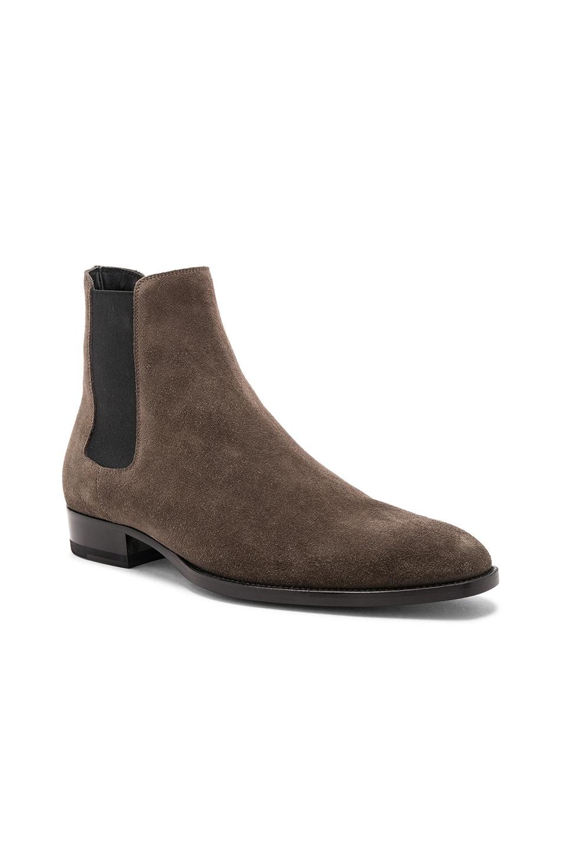 7a88aedf380a Image 1 of Saint Laurent Suede Wyatt Chelsea Boots in Bronze