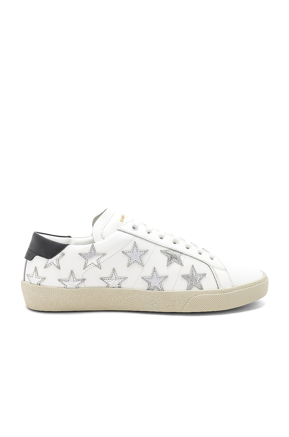 Image 1 of Saint Laurent Star Leather Low Top Sneakers in White & Silver