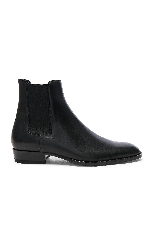 Image 1 of Saint Laurent Leather Wyatt Chelsea Boots in Black