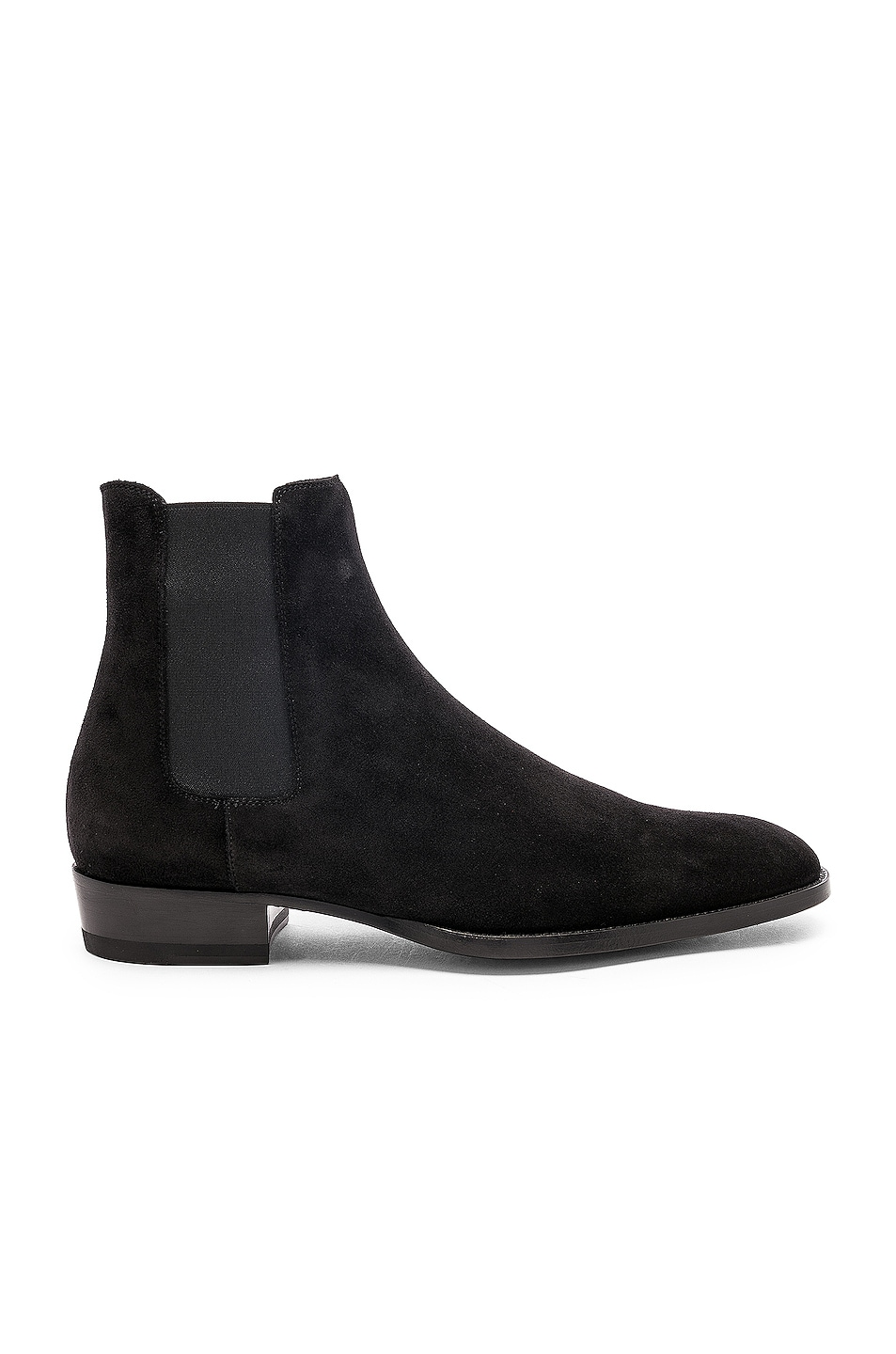 Image 1 of Saint Laurent Suede Wyatt 30 Chelsea Boots in Black