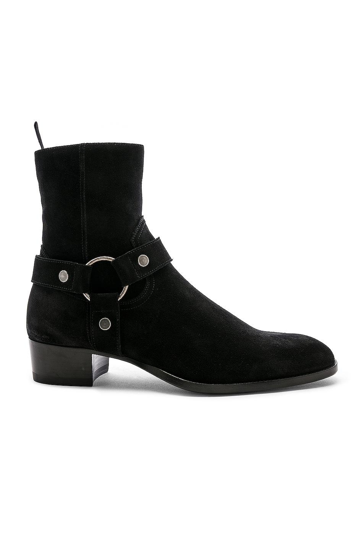 Image 1 of Saint Laurent Suede Wyatt 40 Harness Boot in Black