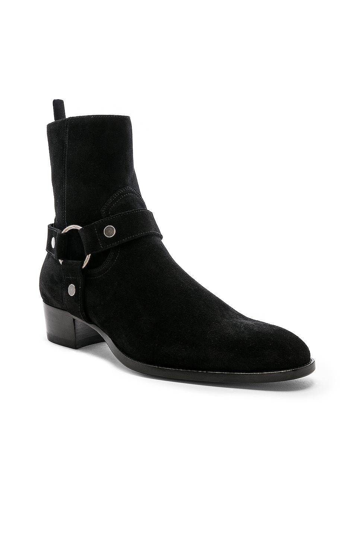 Image 2 of Saint Laurent Suede Wyatt 40 Harness Boot in Black