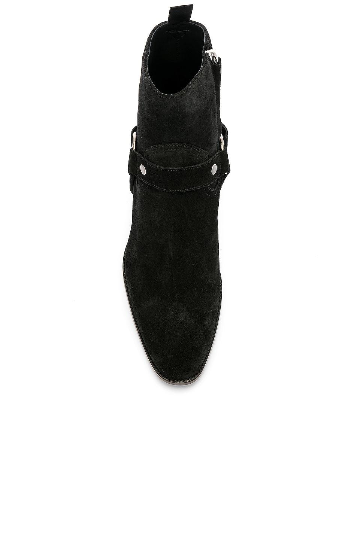 Image 4 of Saint Laurent Suede Wyatt 40 Harness Boot in Black