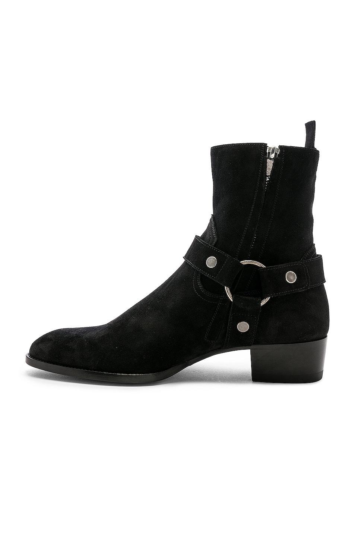 Image 5 of Saint Laurent Suede Wyatt 40 Harness Boot in Black