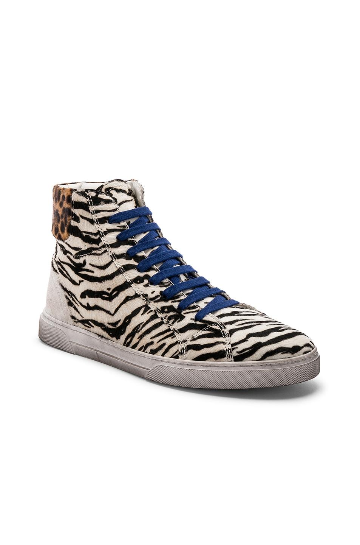 Image 1 of Saint Laurent Calf Hair Joe Chess Hi-Top Sneakers in Black & White