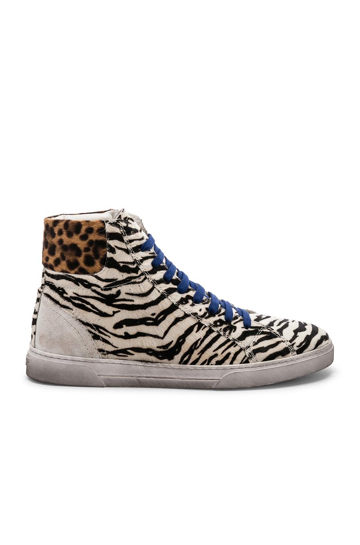 Image 2 of Saint Laurent Calf Hair Joe Chess Hi-Top Sneakers in Black & White