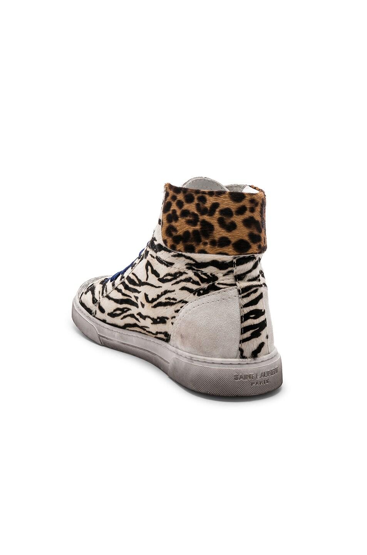 Image 3 of Saint Laurent Calf Hair Joe Chess Hi-Top Sneakers in Black & White