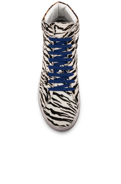 Image 4 of Saint Laurent Calf Hair Joe Chess Hi-Top Sneakers in Black & White