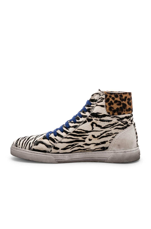 Image 5 of Saint Laurent Calf Hair Joe Chess Hi-Top Sneakers in Black & White