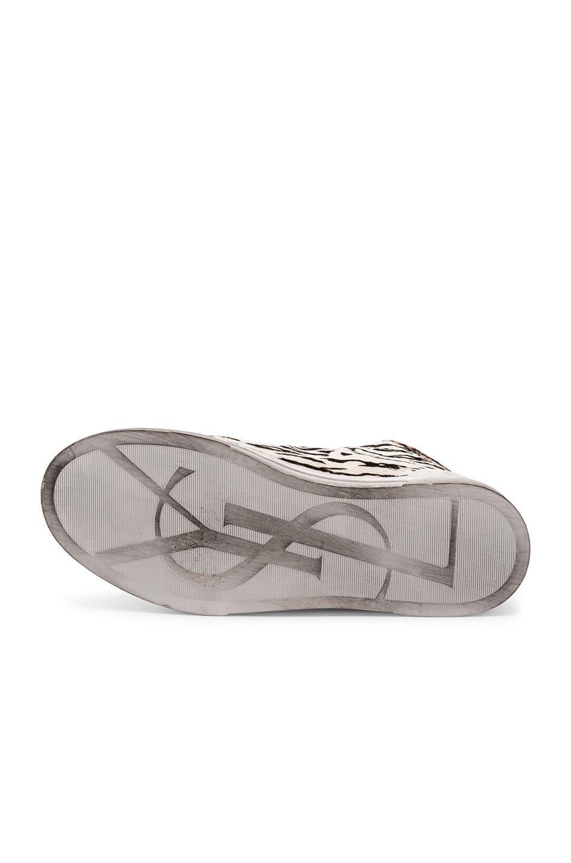 Image 6 of Saint Laurent Calf Hair Joe Chess Hi-Top Sneakers in Black & White