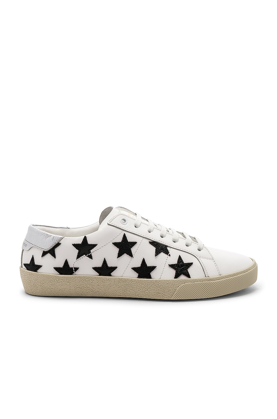 Image 1 of Saint Laurent Leather SL/06 Low-Top Star Sneakers in Optic White & Black & Silver