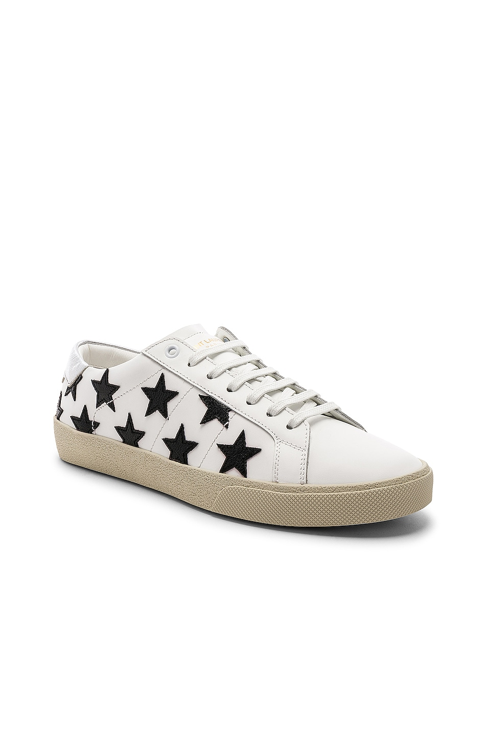 Image 2 of Saint Laurent Leather SL/06 Low-Top Star Sneakers in Optic White & Black & Silver