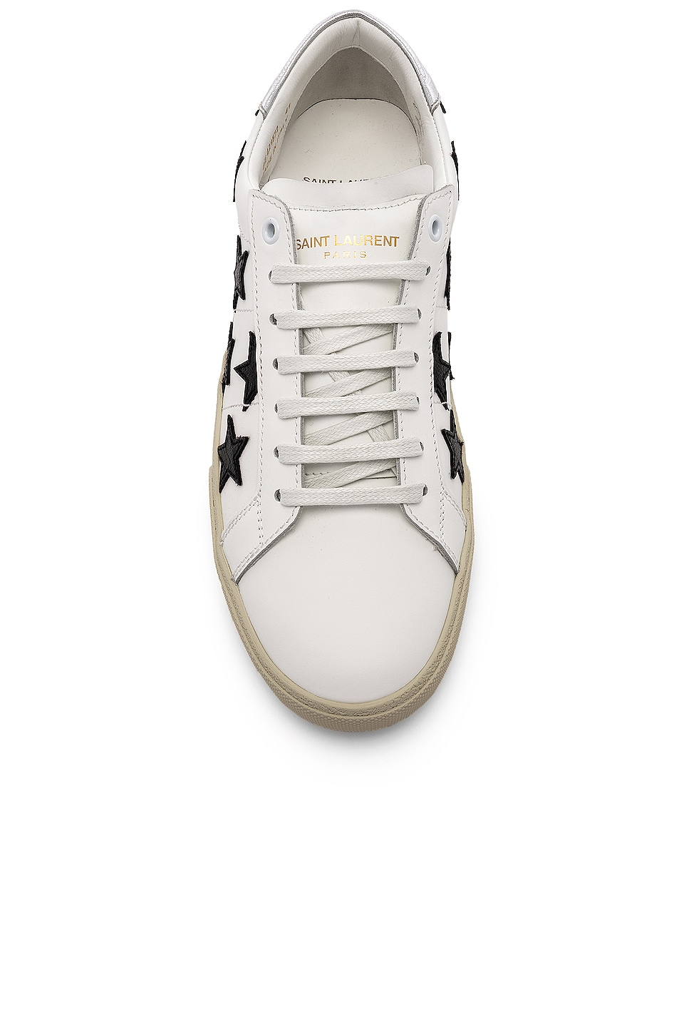 Image 4 of Saint Laurent Leather SL/06 Low-Top Star Sneakers in Optic White & Black & Silver