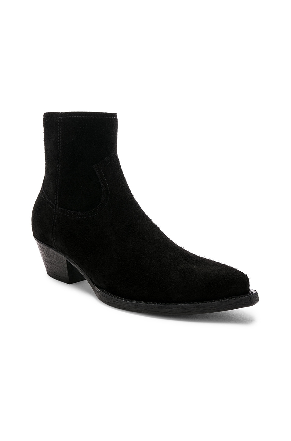 Image 1 of Saint Laurent Suede Lukas 40 Zip Boots in Black