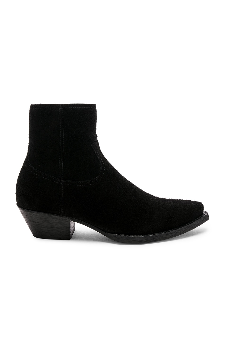 Image 2 of Saint Laurent Suede Lukas 40 Zip Boots in Black