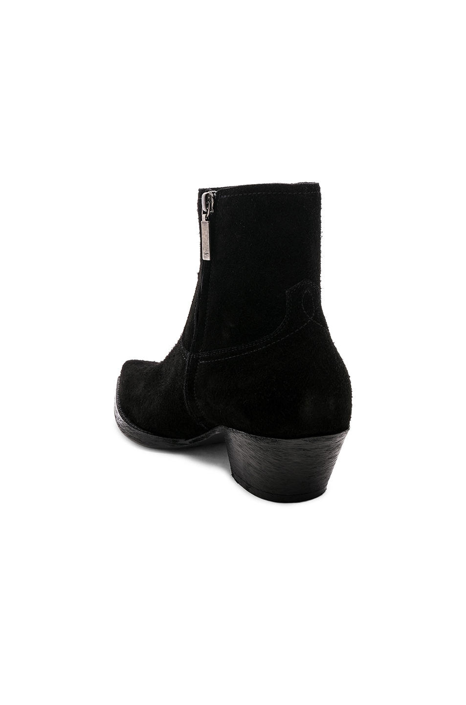 Image 3 of Saint Laurent Suede Lukas 40 Zip Boots in Black