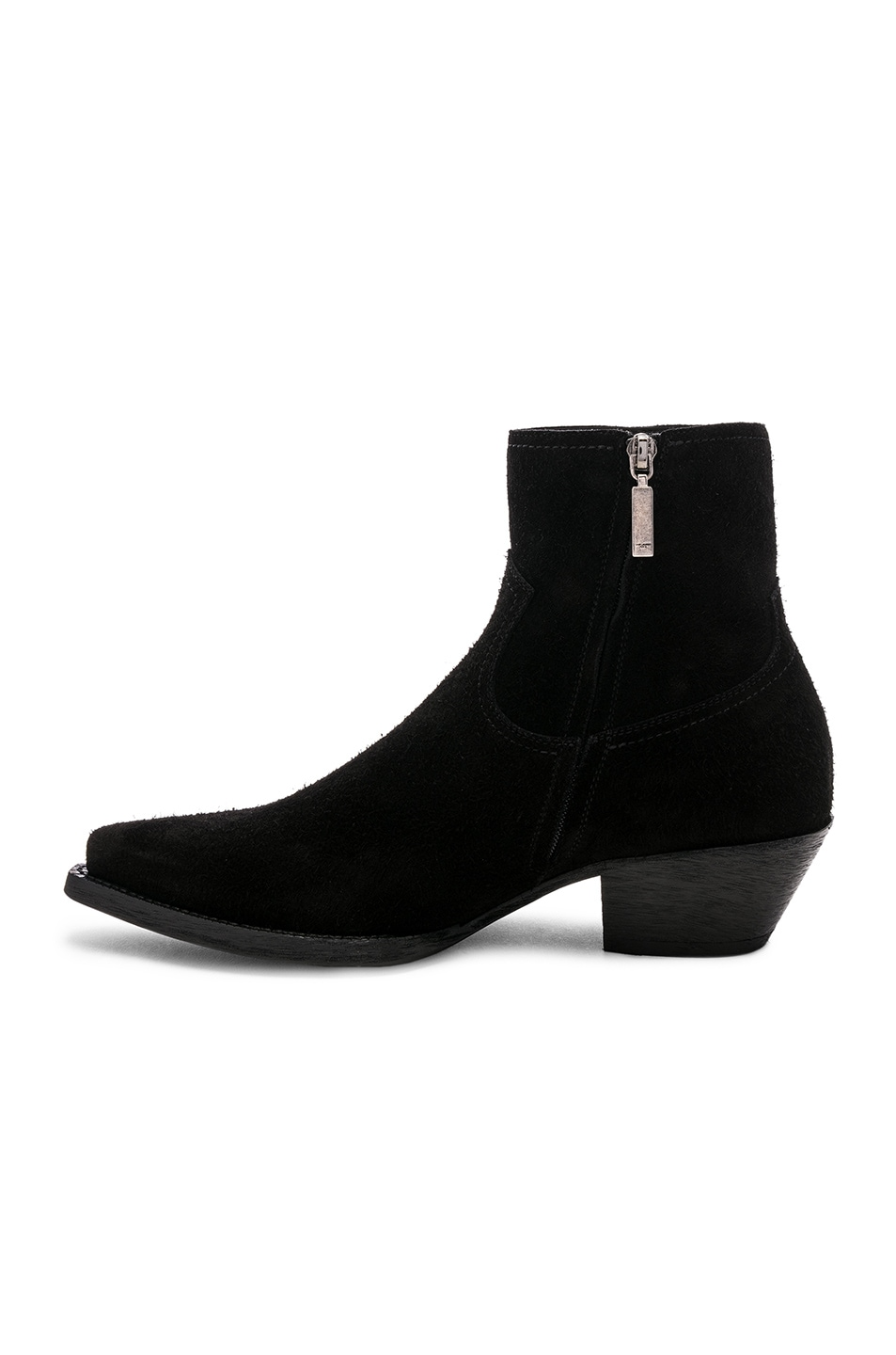 Image 5 of Saint Laurent Suede Lukas 40 Zip Boots in Black