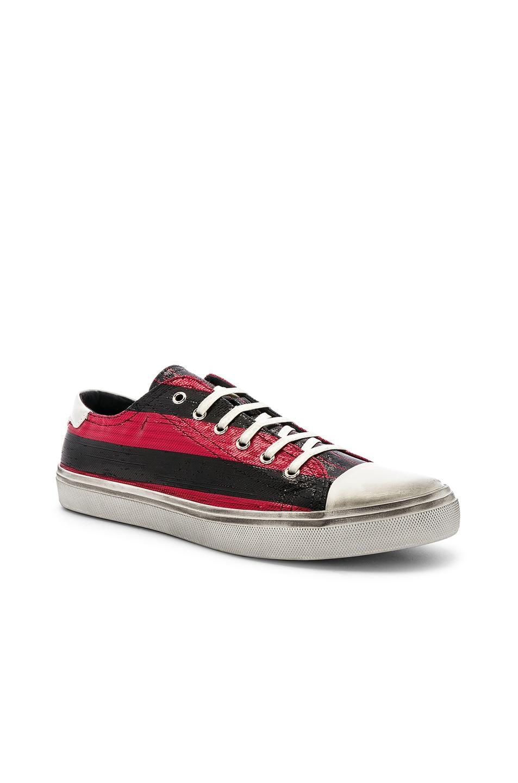 Image 1 of Saint Laurent Bedford Low Top Sneaker in Black & Lurex Red Stripe