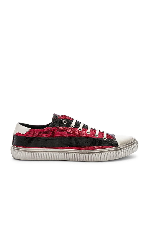 Image 2 of Saint Laurent Bedford Low Top Sneaker in Black & Lurex Red Stripe